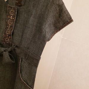 ELF Tops - ELF blue linen beaded tunic sz small